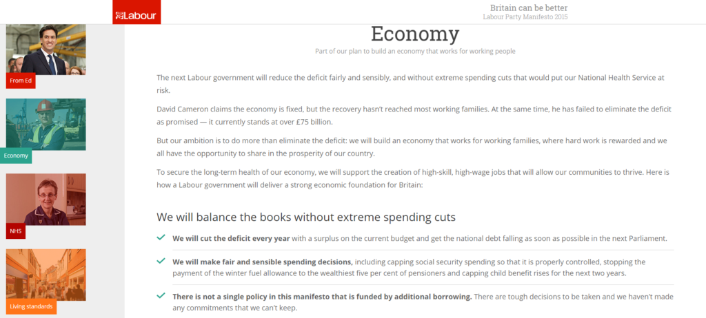 A Screen Cap of the Labour Manifesto focusing on Economics.